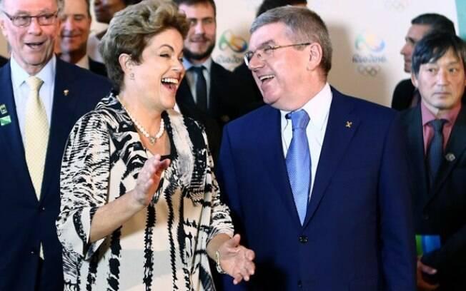Dilma Rousseff e o presidente do COI, Thomas Bach