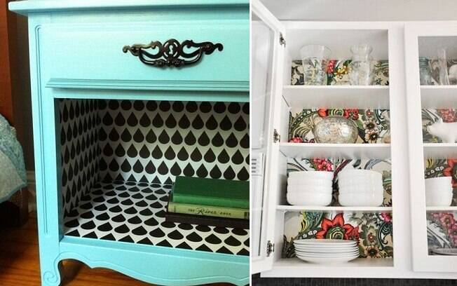 Ele também pode ser usado para revestir o fundo de prateleiras e vãos em cômodas e estantes, por exemplo