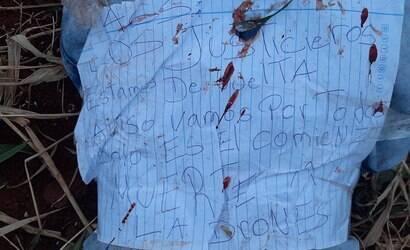 """Corpo é encontrado com bilhete: """"Justiceiros voltaram"""""""