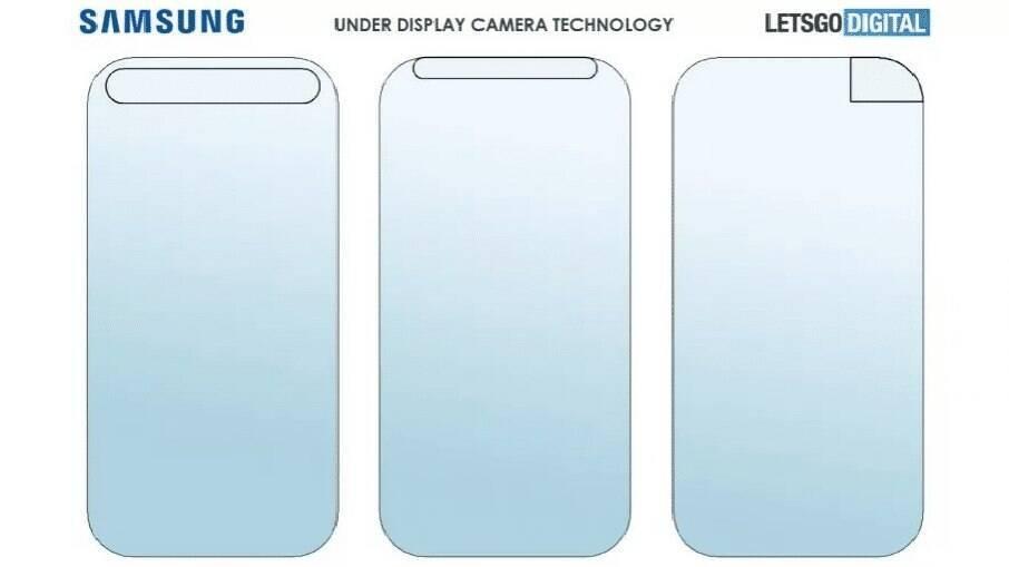 Patente da tecnologia com a câmera sob a tela