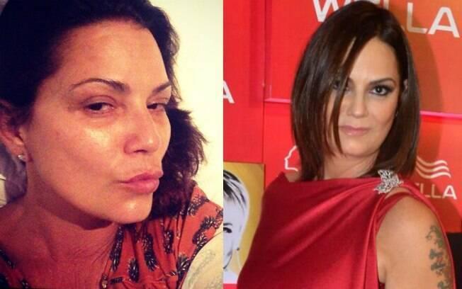 Luiza Brunet compartilhou uma foto em que aparece sem maquiagem. Veja o antes e o depois da ex-modelo