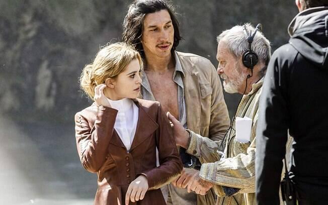 Terry Gilliam, Adam Driver e Joana Ribeiro no set de O Homem que Matou Dom Quixote