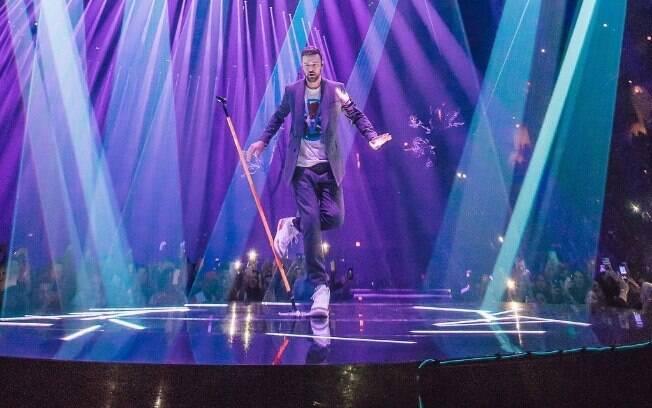 Justin Timberlake em show da turnê mais recente,