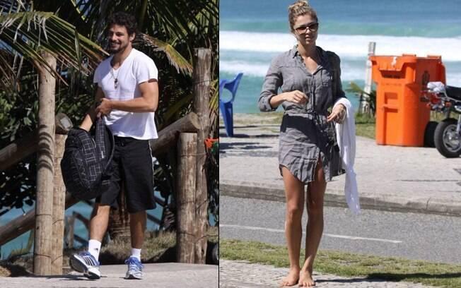 Cauã Reymond e Grazi Massafera deixam a praia após manhã de sol