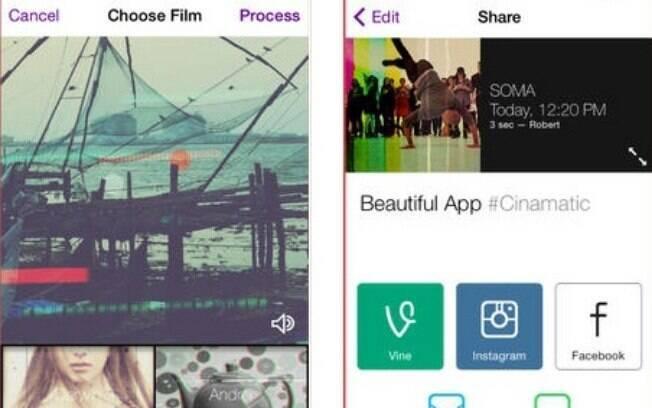 Cinamatic grava vídeos curtos com filtros de câmeras antigas. Apenas para iPhone por US$ 1,99