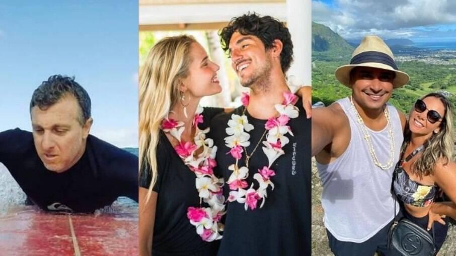 Gabriel Medina, Luciano Huck e Carla Perez aproveitaram as praias do Havaí