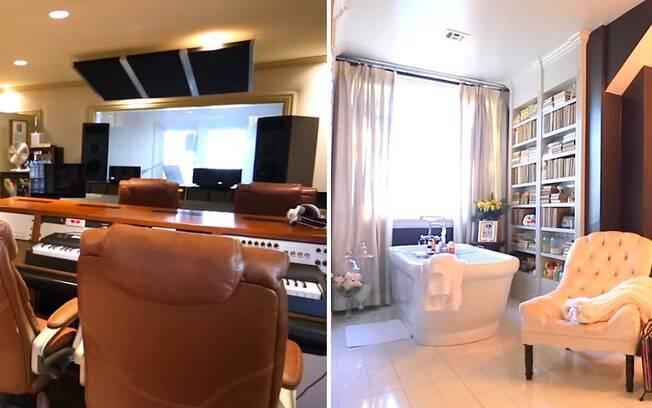 Mansão tem áreas para trabalho, como um estúdio, e também para relaxar