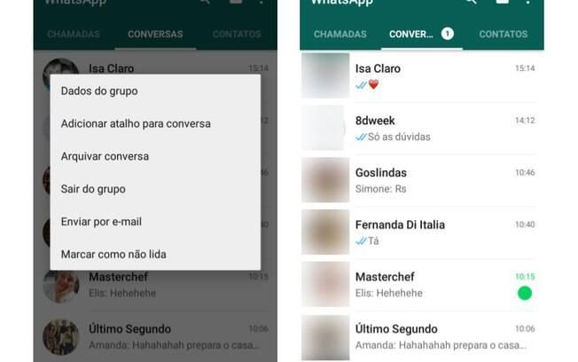 WhatsApp permite que usuário envie conversas de contato e de grupos por e-mail e que marque os bate-papos como não lidos como um lembrete. Foto: Reprodução