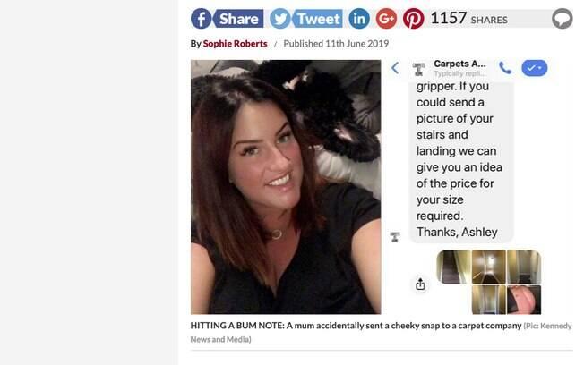 Entre as imagens, é possível ver a foto do bumbum de Danielle enviada ao Carpets At Home pelo chat