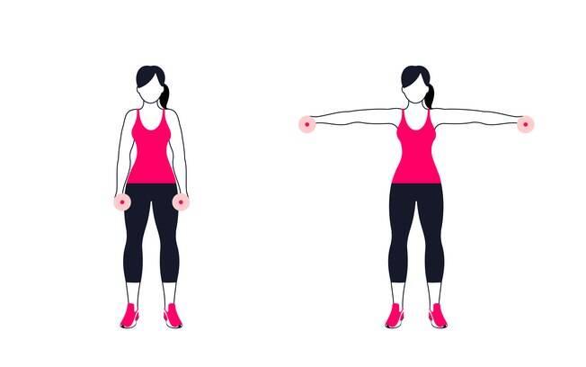 Na hora de realizar os exercícios de ombro de elevação, como no caso da lateral, como a foto, é preciso manter a postura