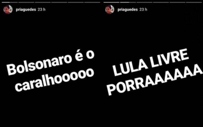 Priscila Guedes faz post no Instagram