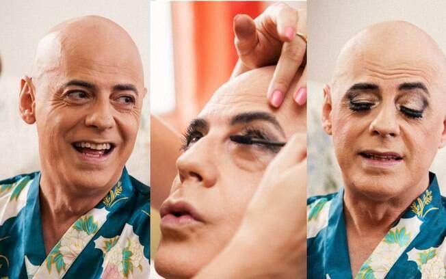 O processo: sessão de make para transformar Renato na mulher que ele interpreta no palco