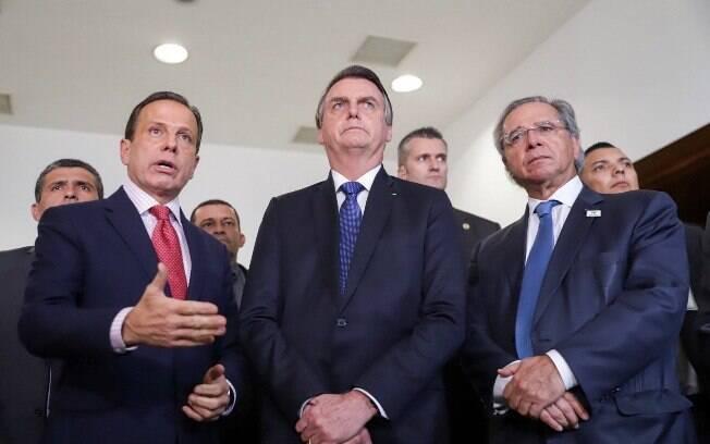 O presidente Jair Bolsonaro (PSL) se reuniu com o governador de São Paulo, João Doria (PSDB), e o ministro Paulo Guedes