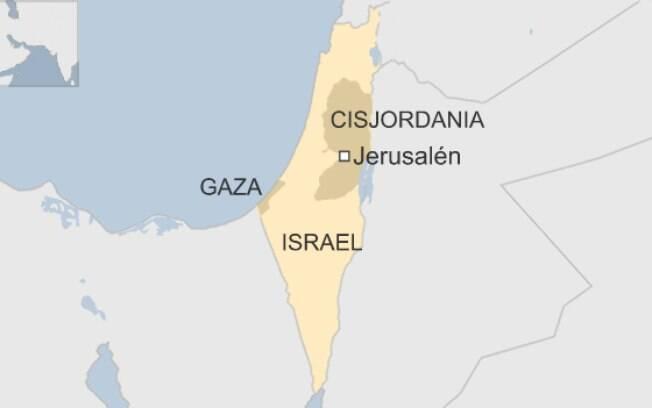 Os dois territórios palestinos são a Cisjordânia (incluindo Jerusalém Oriental) e a Faixa de Gaza