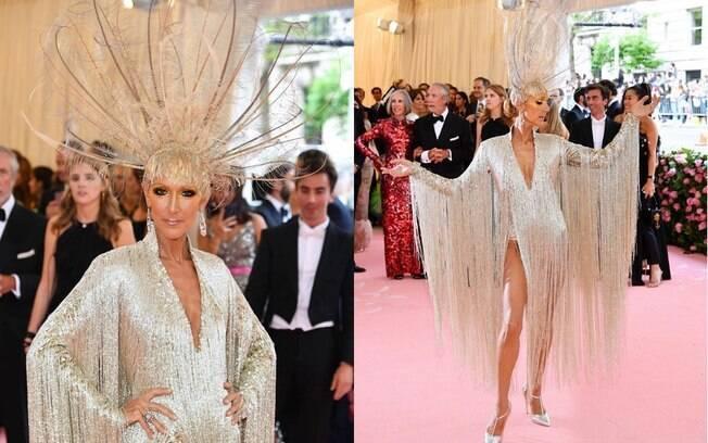 Céline Dion usou um vestido e acessório brilhantes que, no total, pesava nove quilos para o tapete rosa do Met Gala 2019