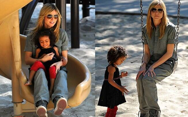 Heidi Klum divertiu-se com os filhos na tarde desse sábado (3)