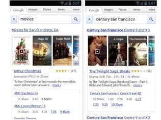Google mostra as sessões de filmes mais próximas do usuário