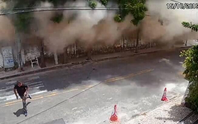 Câmeras flagraram queda do edifício em Fortaleza