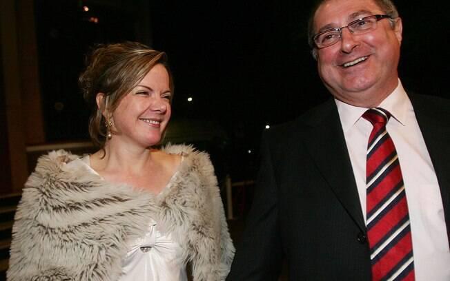 Senadora Gleisi Hoffmann com o marido, o ex-ministro do Planejamento Paulo Bernardo