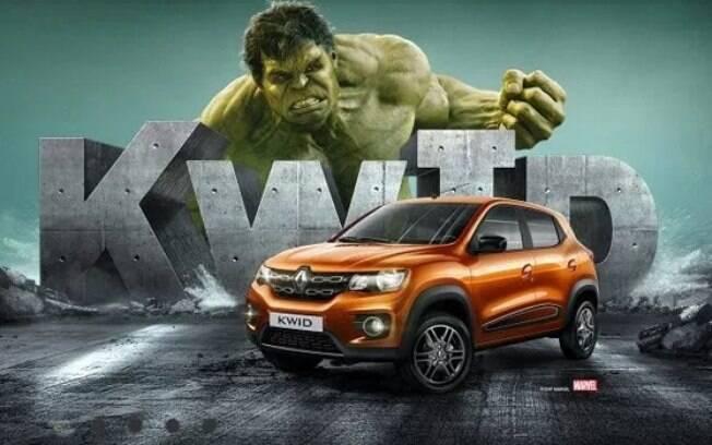 Renault Kwid aparece ao lado do Incrível Hulk para reforçar a ideia de um subcompacto robusto
