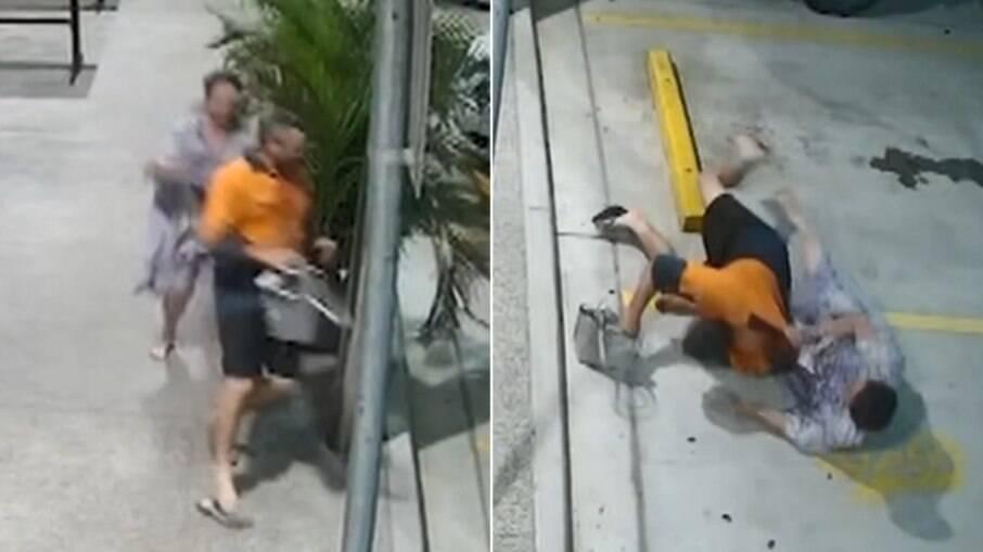 Câmeras de segurança registraram a operação de resgate empreendida pela dona da bolsa