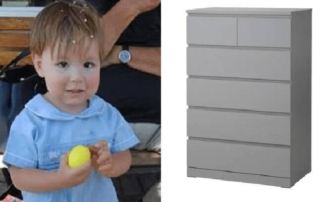 Jozef Dudek, uma criança de 2 anos de idade que morreu em 2017, na Califórnia, após uma cômoda da empresa cair sobre ele