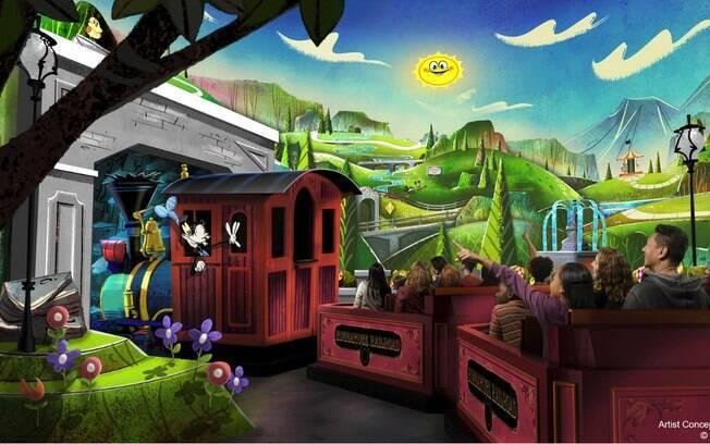 """Atração """"Mickey & Minnie's Runaway Railway"""" reúne pela primeira vez o casal Mouse no parque da Disney"""