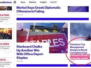 Site Bloomberg destaca a saída da diretoria em meios aos escândalos de corrupção