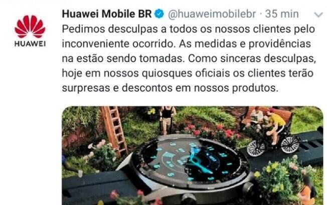 Huawei se desculpou no Twitter e apagou publicação em seguida
