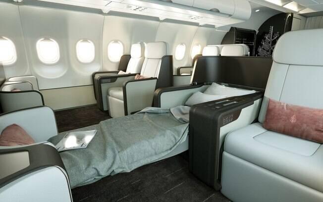 O novo jatinho prima por mais espaço e se foca na interação entre os passageiros sem que eles saiam dos lugares