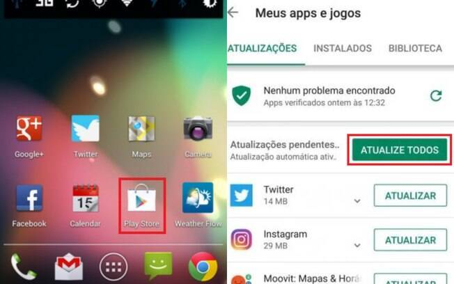 Pra atualizar o WhatsApp e todos os outros aplicativos no sistema Android acesse a Play Store e selecione 'atualizar todos'