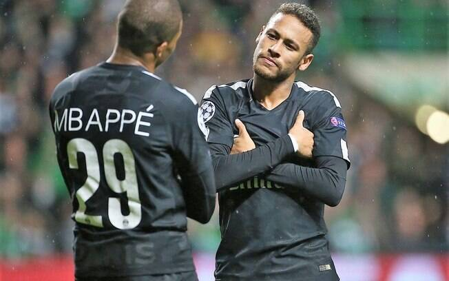 Neymar e Mbappé juntos no PSG