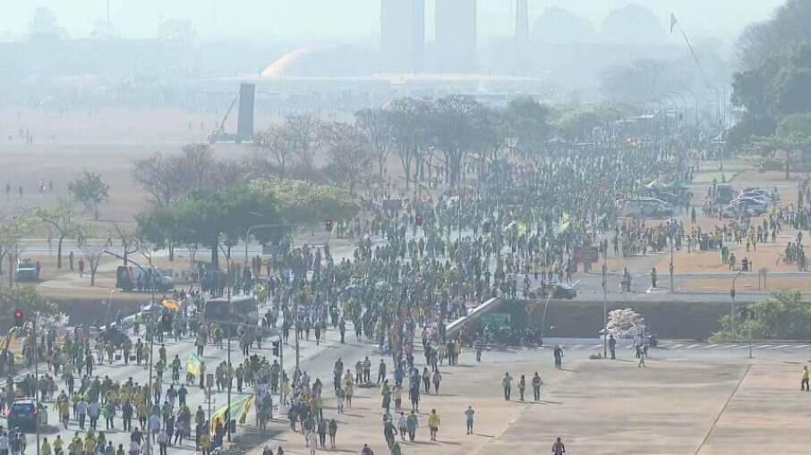 Mobilização de manifestantes em Brasília na manhã desta terça-feira, 07 de setembro