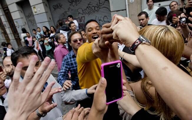 Will Smith brincou com os fãs nessa quarta-feira (20)