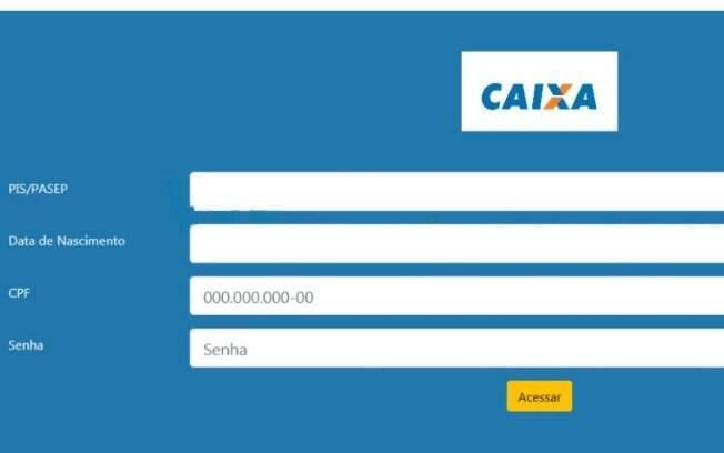 Imagem do site da Caixa pedindo dados pessoais