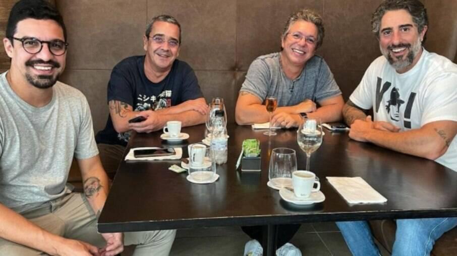Marcos Mion e Boninho almoçam juntos