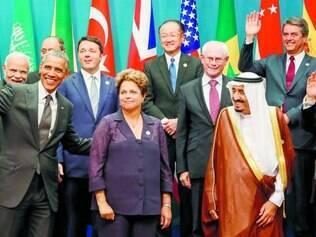 Reunião. Com a presidente Dilma Rousseff ao centro, líderes do G-20 se reúnem na Austrália para discutir crescimento global