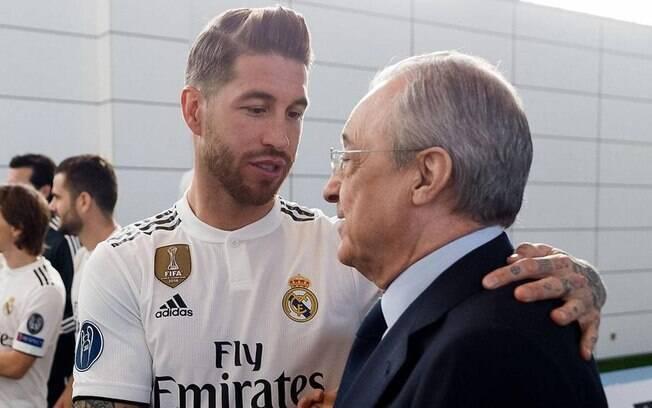 Sergio Ramos e o presidente Florentino Pérez discutiram no vestiário do Real Madrid recentemente