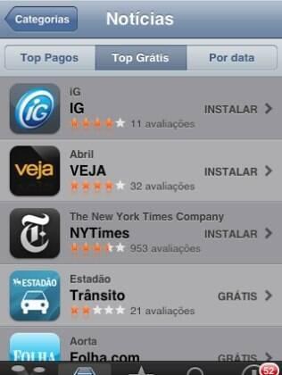 Aplicativo do iG na App Store fica em primeiro lugar, à frente de aplicativos de outros veículos brasileiros