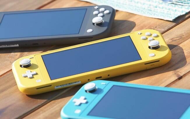 Switch Lite chega em setembro por US$ 200 e vai estar disponível em três cores: amarelo, cinza e azul turquesa