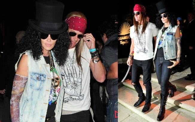 O casal Cindy Crawford e Rande Gerber caprichou: ela foi de Slash e ele, de Axl Rose, do Guns N' Roses