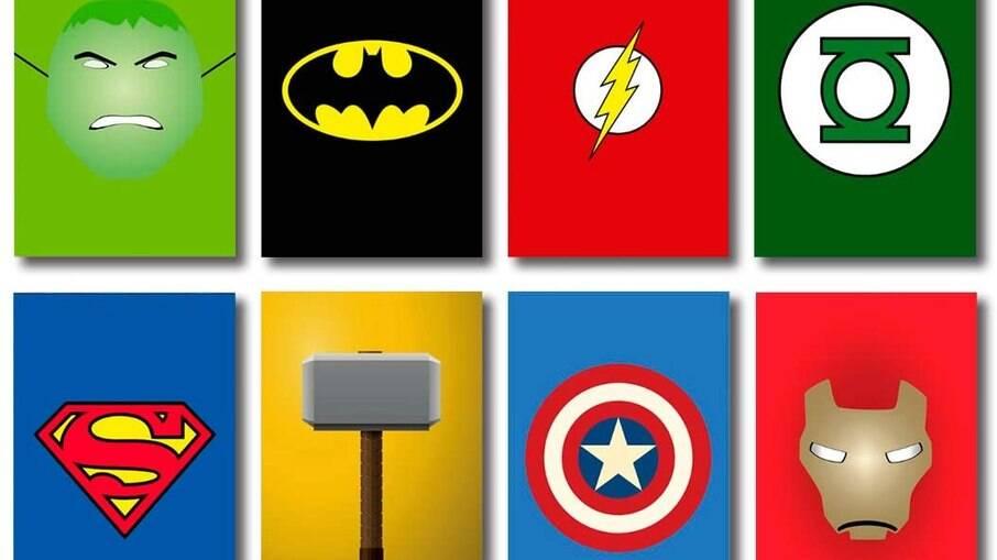 Kit com placas de heróis da Marvel e da DC