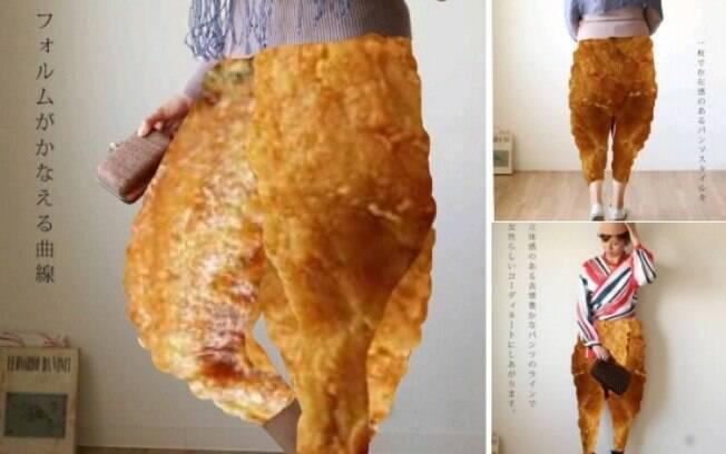 Usuário do Twitter trocou a calça que modelo usava por coxas de frango, e o resultado conquistou internautas