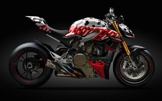 Pelas  fotos de divulgação do protótipo da Ducati Streetfighter V4 podemos analisar algumas de suas novidades