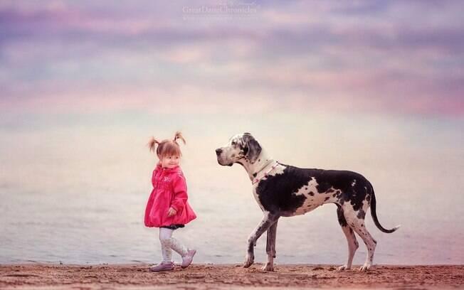 Série intitulada: Pequenas crianças e grandes cachorros