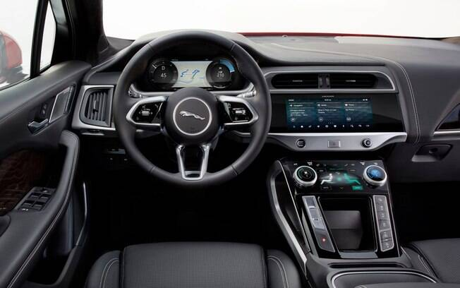 Jaguar I-Pace tem interior futurista, o que também deverá ser aplicado nos futuros elétricos da Land Rover