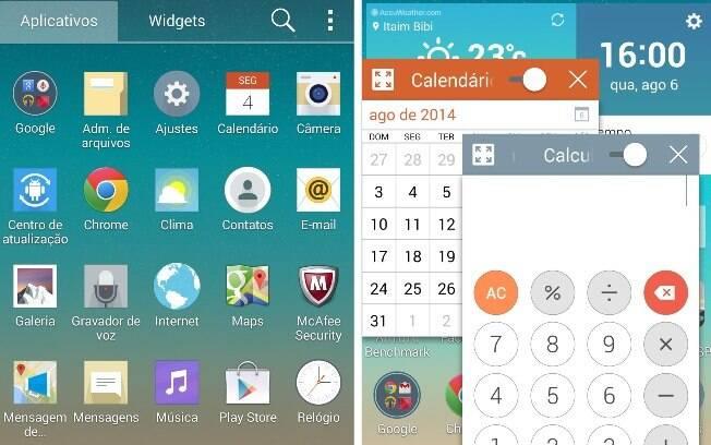 Tela de aplicativos do G3 (esq.) e recurso QSlide, com apps em janelas menores (dir.)