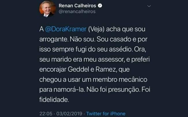 Renan Calheiros publicou este tweet contra a jornalista Dora Kramer, mas logo o apagou da rede social
