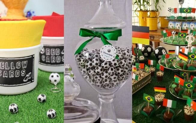 Docinhos que vão ser servidos durante a festa e até alguns itens, como simples guardanapos, podem servir na decoração