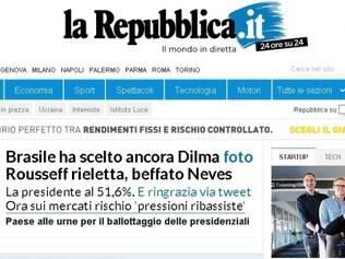 POLITICA - ELEICAO BRASIL  Capa do portal do Clarin fala da vitoria nas eleicoes  FOTO: Reproducao / La Repubblica